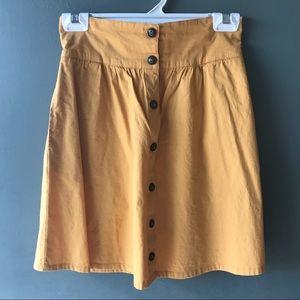 Mustard yellow high waist skirt ModCloth